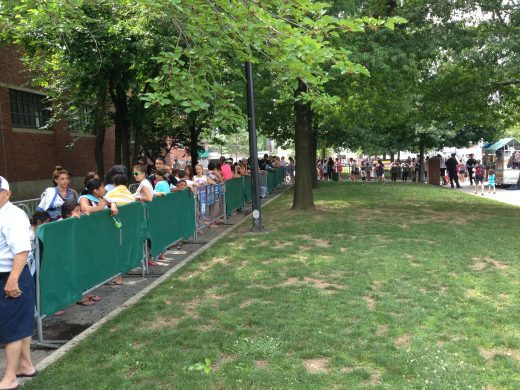 The line outside McCarren Park Pool, one day after opening. (Photo: Natalie Rinn)