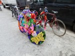 Brooklyn-based street artist Olek displayed three pieces on North 6th, including her recognizable crocheted bike.