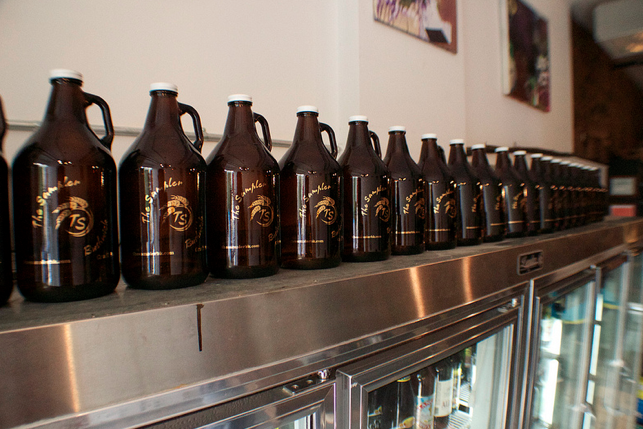 Growlers are $6 for the bottle, around $20 for the fill.  (Photo: Lauren Carol Smith)
