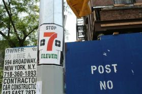 Folks sure seem to feel strongly about the 7-Eleven bound for Avenue A. (Photo: Phillip Pantuso)