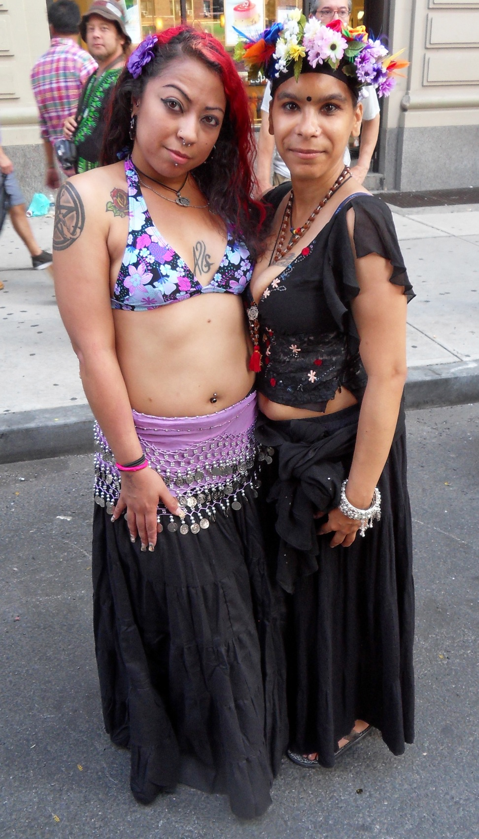 Two festivalgoers who danced along to Shakti's performance.