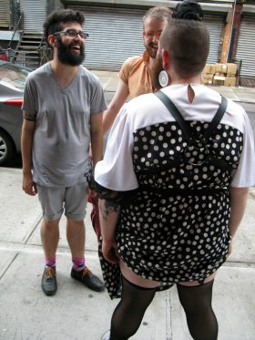 Greg Newton (facing camera, right) speaks to Shane Shane (back to camera) outside of BGSQD. (Photo: Joshua Kristal)