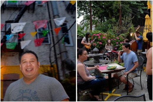 L: Jose Hernandez. R: Jazz night at his restaurant, Mesa Azteca. (Photos: Joshua Kristal)