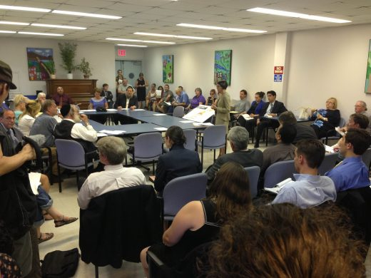 Melanie Meyers of Greenpoint Landing Associates address CB1 Land Use Subcommittee members. (Photo: Natalie Rinn)
