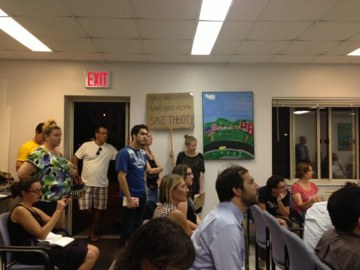 Sweaty Greenpointers listen to developers' presentations before CB1 at Mary D.'s Senior Housing. (Photo: Natalie Rinn)