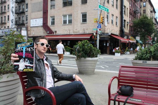 Sullivan (and his book) on the Lower East Side (Photo: Natalie Rinn)