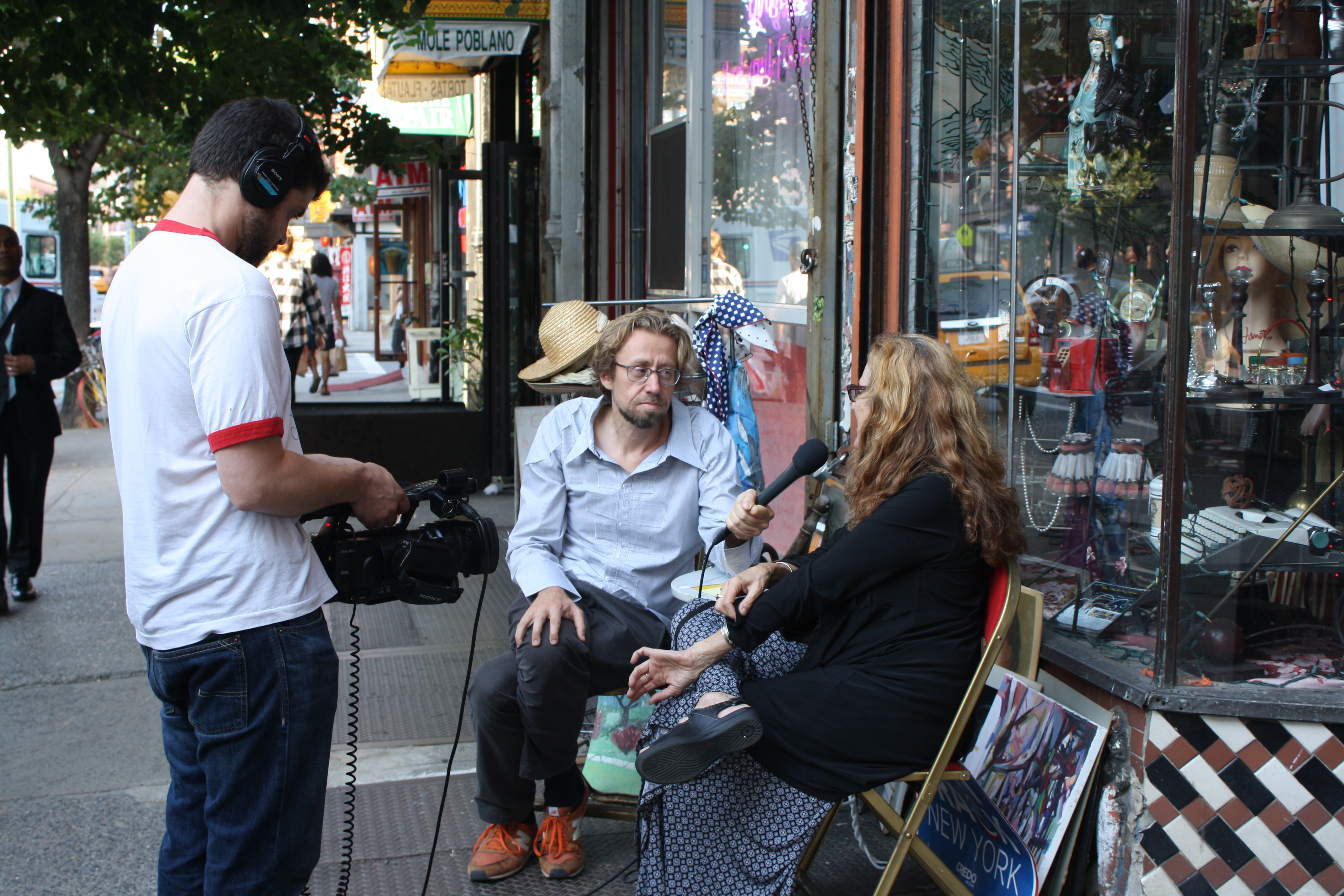 Daniel Pinchbeck films an interview for