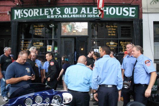 New York City firefighters outside McSorley's Old Ale House today. (Photo: Natalie Rinn)