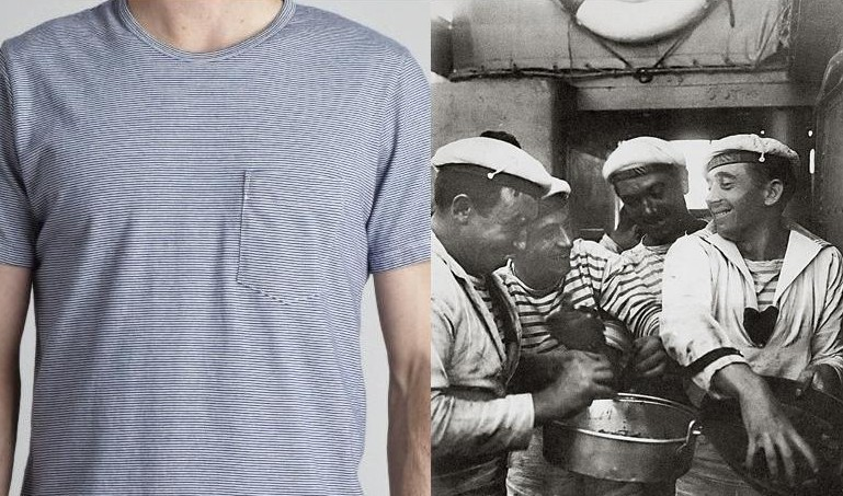 "We learned from Benjamin, after six pronunciation attempts and a spelling lesson, that the fashion-conscious name for horizontal stripes on a shirt is mariniere. It is derived from the French word for ""sailor"" because 1850s French seamen wore them to stick out more visibly against the waves.  (Here are Benjamin's shirt and some sailors in mariniere, via Cadet and Wikipedia.)"