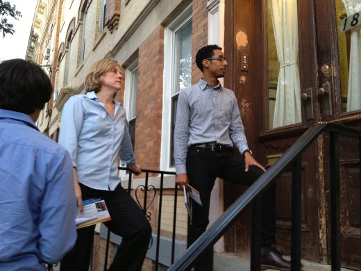 Reynoso and Melinda Katz in Ridgewood. (Photo: Nicole Paluska)