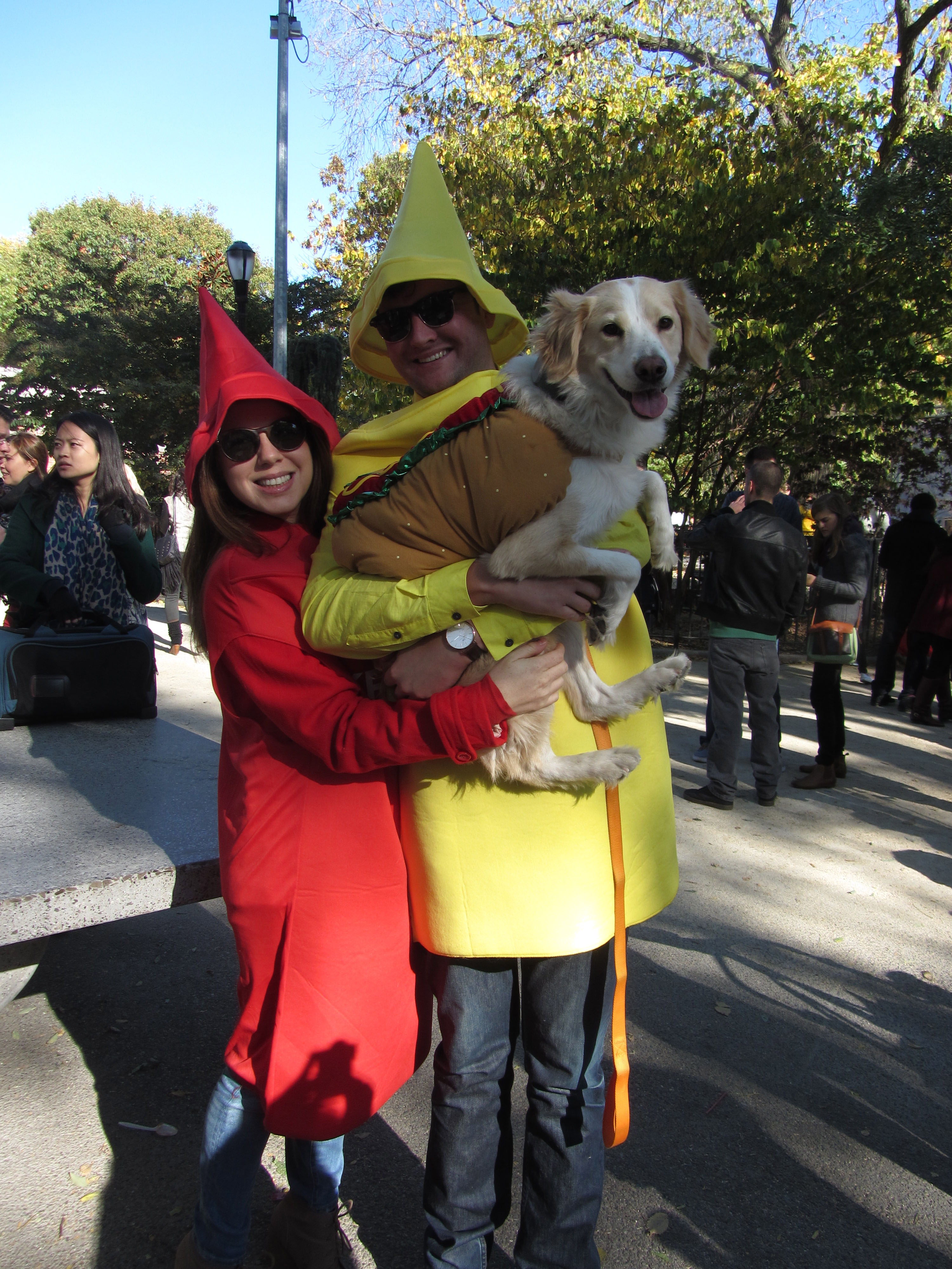 "Lindsay Kaplan and Richard Blakeley are a longtime ketchup and mustard duo. Since adopting Bagel, ""We just knew we needed a little hotdog,"" Kaplan says."