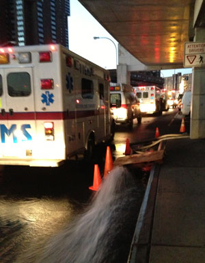 Water gushing out of a pump during Bellevue's evacuation on Nov. 1. (Photo: Sheri Fink)
