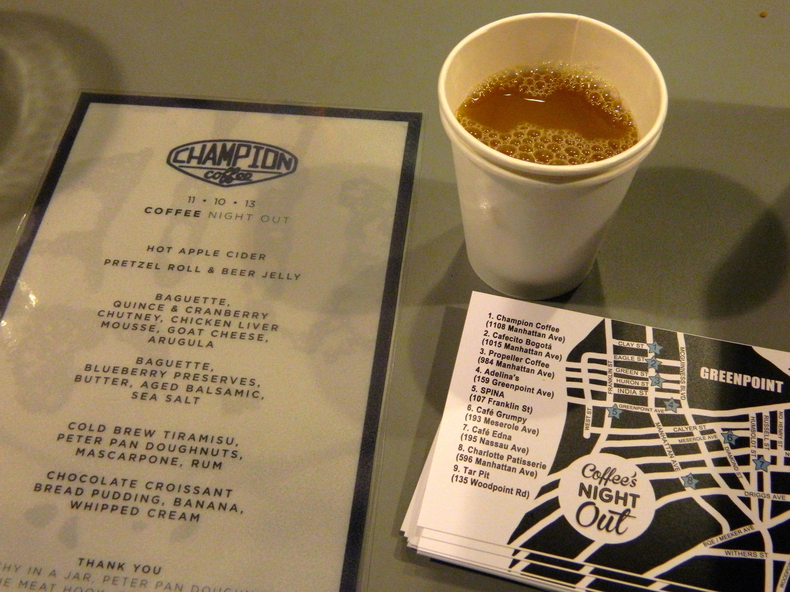 <a href=http://www.championcoffee.net/><b>Champion</b></a> (1108 Manhattan Ave) provided complimentary fall beverages, a special cider in addition to its own Champion coffee, and local treats like bread pudding made from Peter Pan doughnuts.