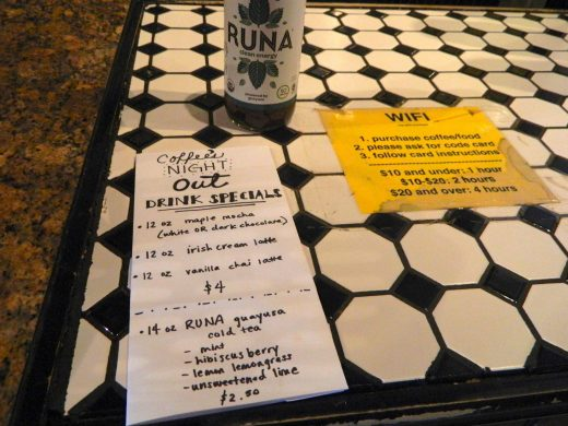 The menu at Cafe Edna.
