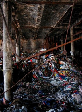 Rags piled up after the fire. (Photo: Nathan Kensinger)