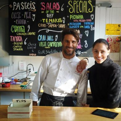 Chef Carlos Varella and his wife, model Andressa Junqueira, at Beach Bistro 96. (Photo courtesy Andressa Junqueira)