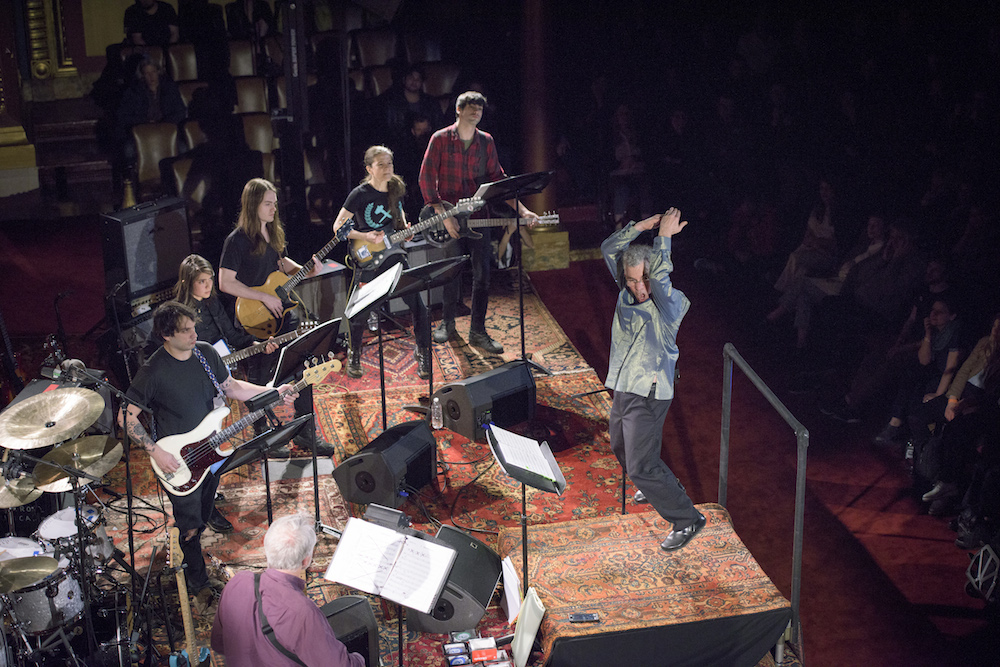 John Myers and an all-star group of musicians perform Glenn Branca's Symphonies, part of the Red Bull Music Academy Festival, at Masonic Hall NYC in Manhattan, NY, USA on 16 May, 2016. (Photo courtesy of Red Bull Music Academy)