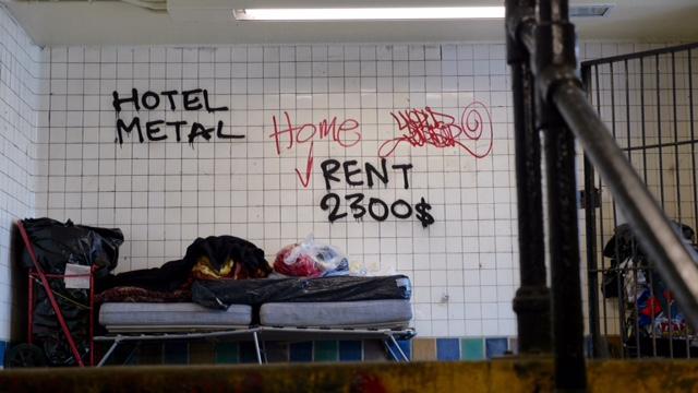 """HOTEL METAL"" at the Wyckoff Avenue entrance. (Photos: Karissa Gall)"