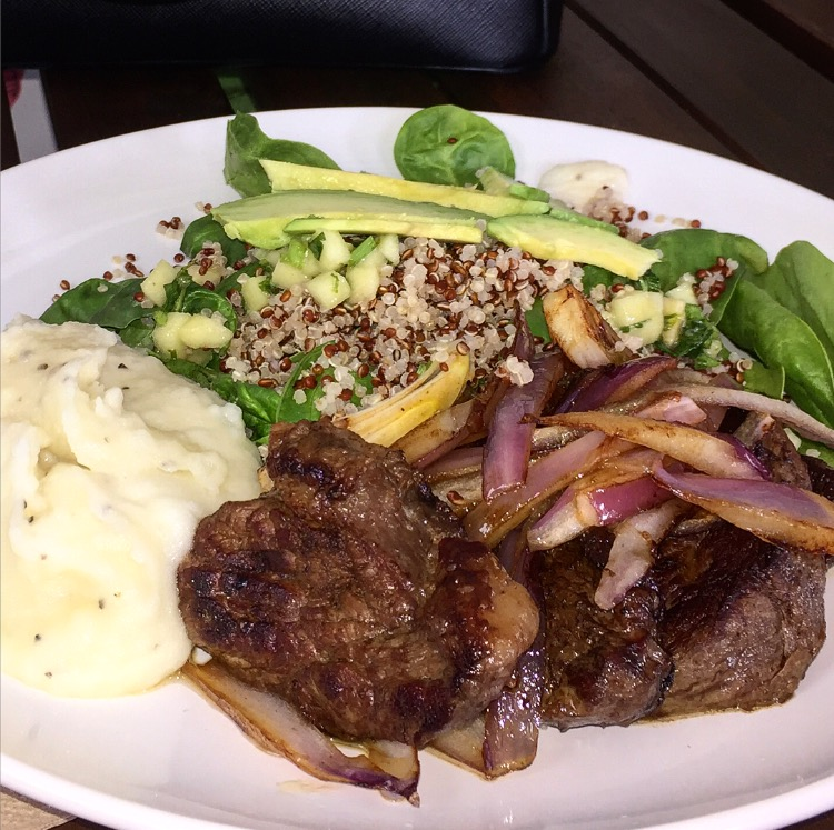 The picanha dish (Varella's favorite) comes with top sirloin meat, mashed potatoes and salad. (Photo courtesy Andressa Junqueira)