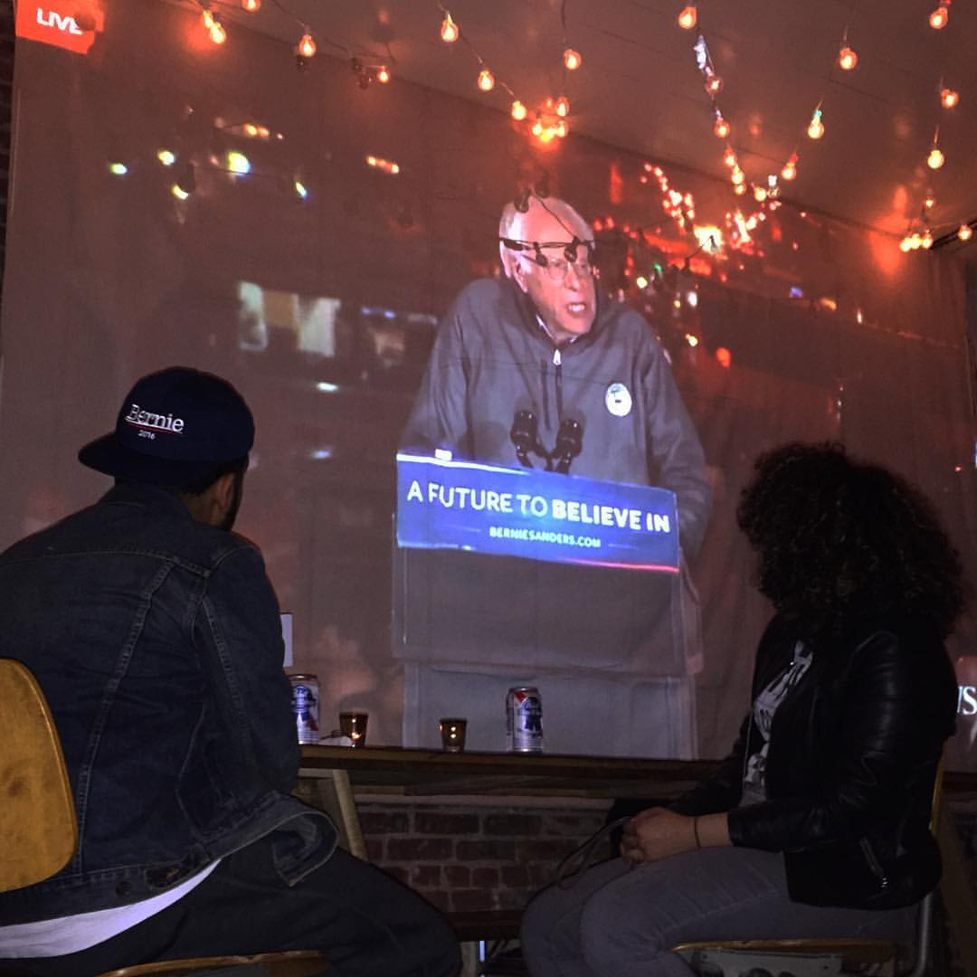 The live stream of Bernie Sanders' Washington Square Park rally at Father Knows Best. (Photo courtesy Father Knows Best)