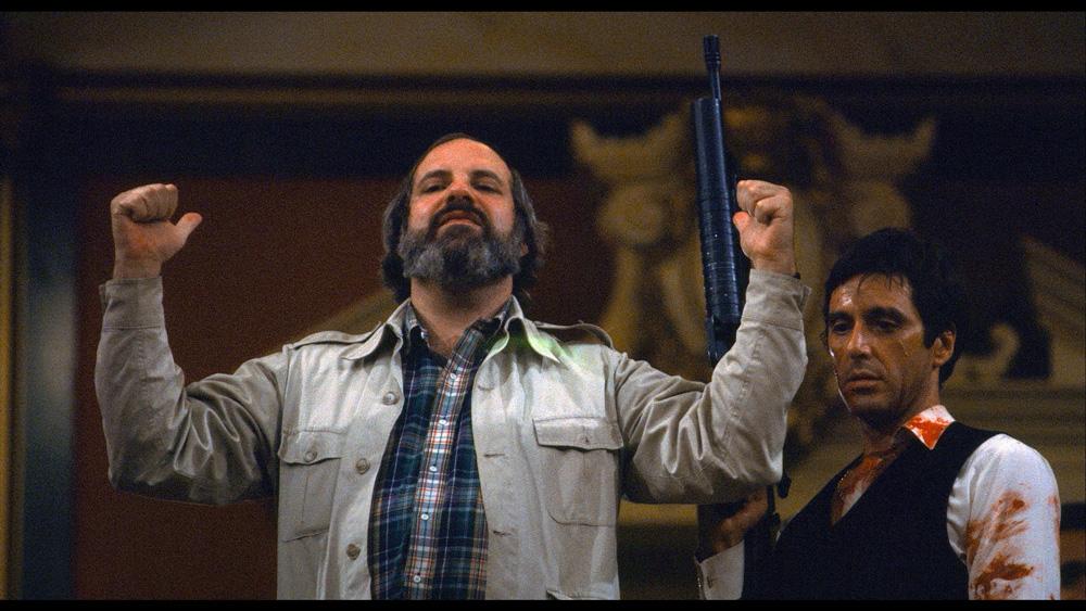 De Palma and Pacino on set of Scarface as seen in De Palma.  (Courtesy of A24.)