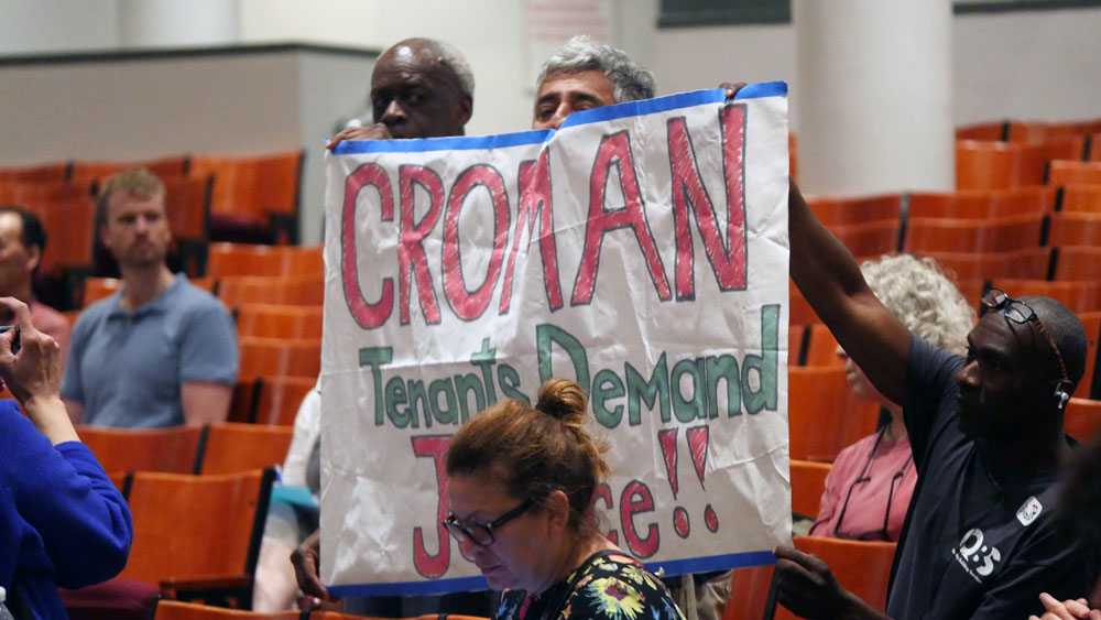 RGB public hearing attendees protest embattled landlord Steven Croman. (Photo: Karissa Gall)