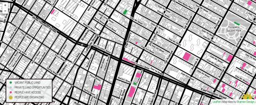 Screenshot of 569 Acres's Living Lots project, mapping available public space. (image via livinglotsnyc.org)
