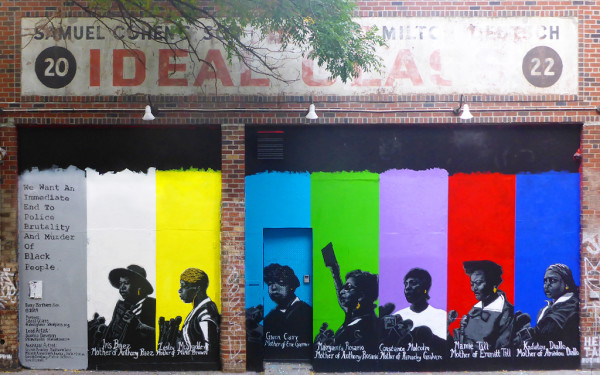 "Ideal Glass mural ""Every Mother's Son"" by Sophia Dawson, featuring portraits of mothers who have lost children by way of police brutality. (image via Sam Jablon)"