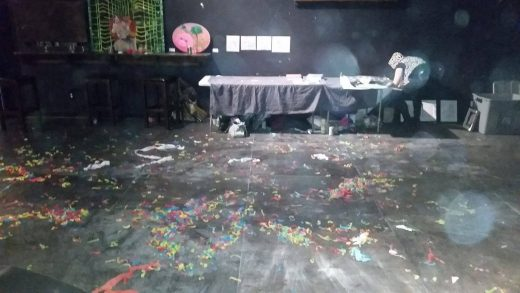 "The ""mess"" created at The Paper Box at Wild Torus and Non Grata's April 25th Diverse Universe show (photo courtesy of Mike Berlant)"