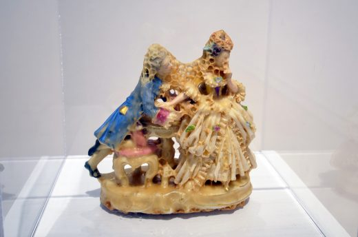Aganetha Dyck, An Inconvenient Proposal, 2007, Porcelain figure, beeswax, honeycomb, Courtesy of the artist and Michael Gibson Gallery, London, ON (image courtesy of apexart)