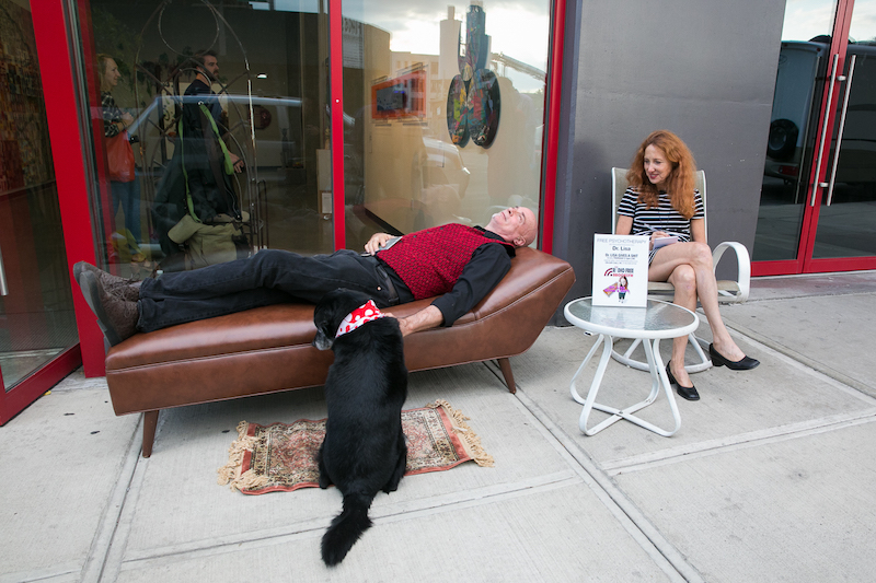 Radio Free Brooklyn host Dr. Lisa Levy (Miss Subways 2017) gave free advice on her therapist's couch in front of a gallery.