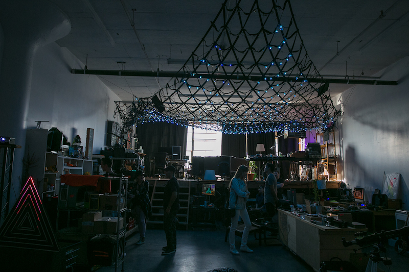 @dubpixel, @doctor_light and @chasev created robotic and light art that you could interact with, or press buttons to start, stop, or change the sound.