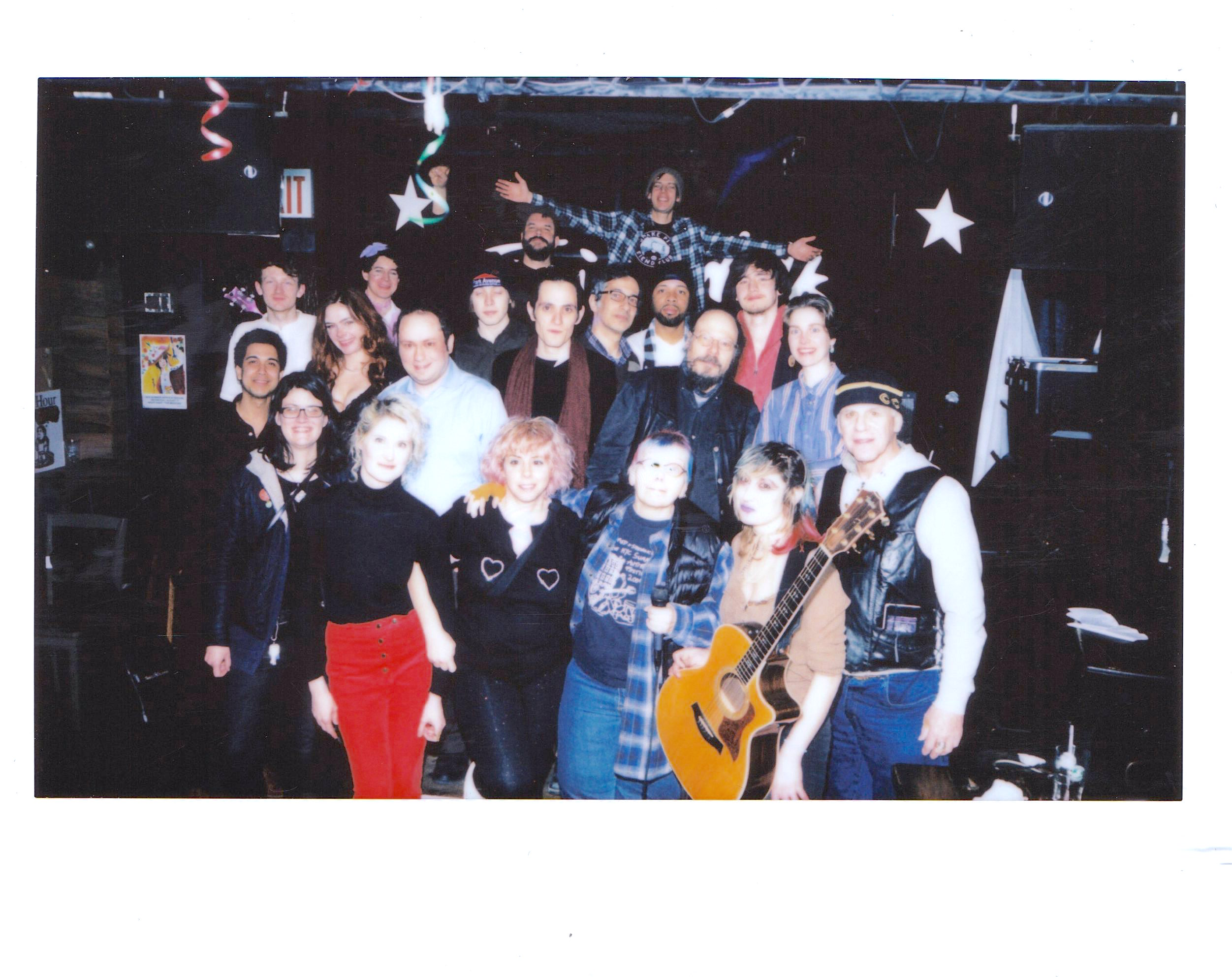 Phoebe Novak with her fellow performers and audience after her set at the Winter Antifolk Fest, 2/13/19 at 11pm.